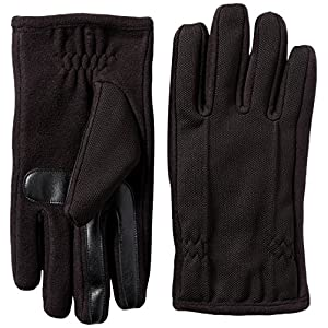 Isotoner Men's Tech Stretch smarTouch Fleece Palm Gloves , Black, MD