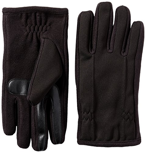 - Isotoner Men's Tech Stretch Smartouch Fleece Palm Gloves, Black, LG