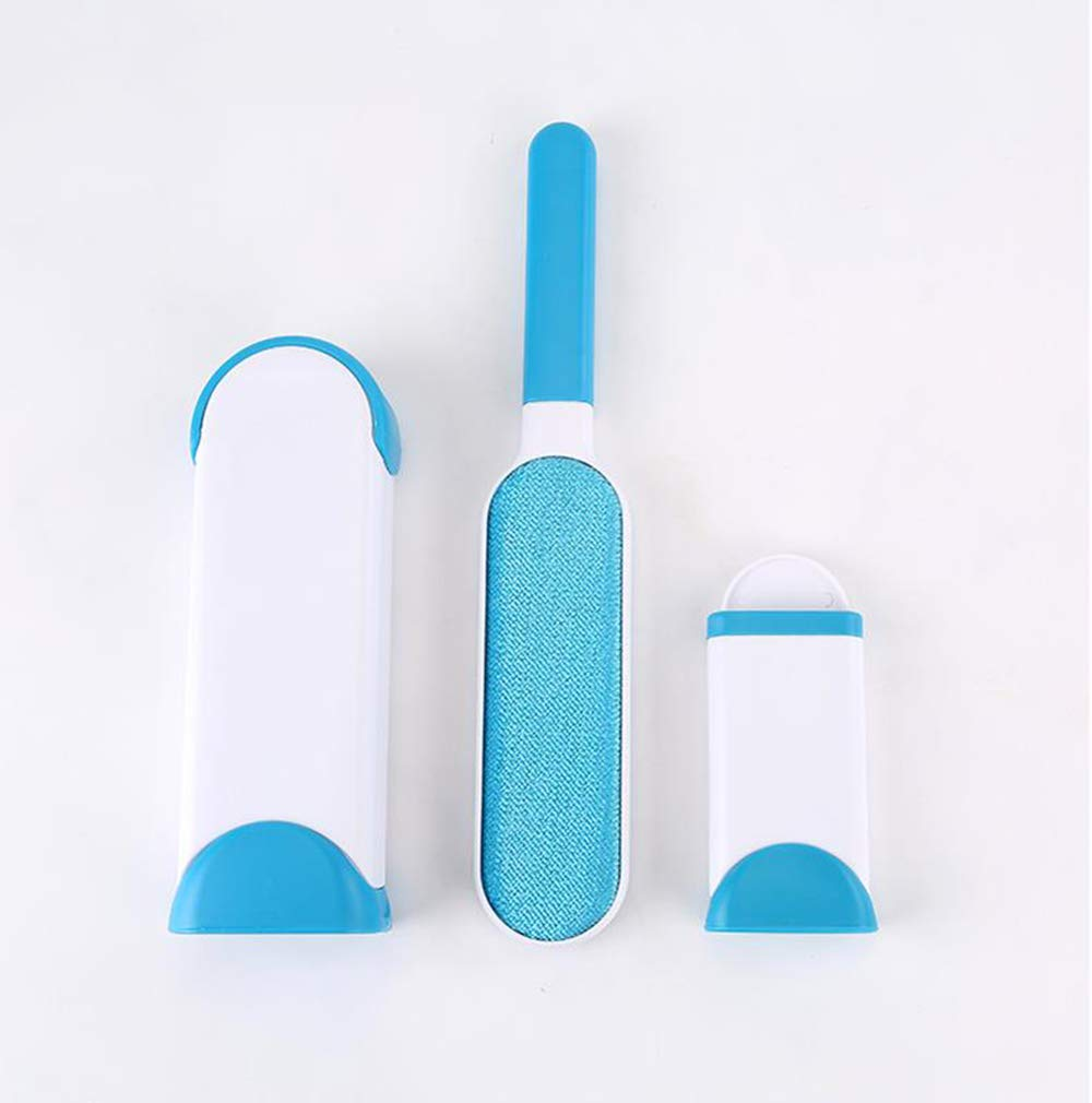 WVUR Pet Hair Removal Brush, Double-Sided Hair Hair Removal Tool, Reusable Self-Cleaning Base, Suitable for Clothes, Sofas, Carpets, Car Seats,Blue