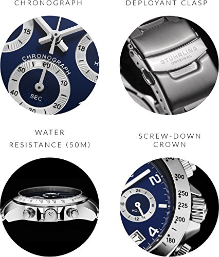 Blue Quartz Chronograph Mens Watch by Stuhrling Original. Solid Stainless Steel Watch Bracelet Watch Band Deployant Clasp. 50 Meter Water Resistant. Stylish gift watches for men. by Stuhrling Original (Image #1)