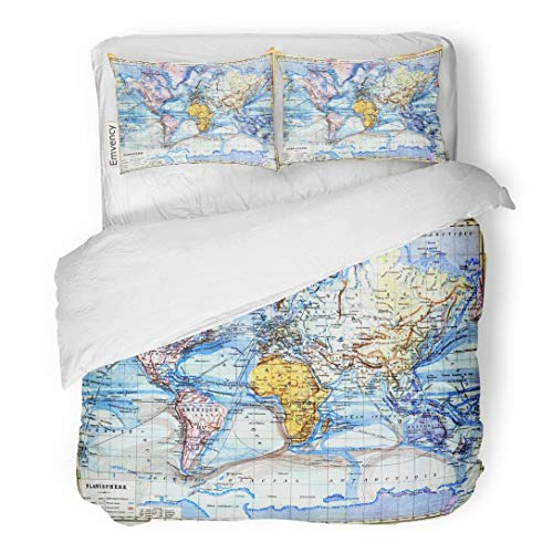 Tarolo Bedding Duvet Cover Set The Old Map of Planisphere World Colors in It Vintage from Late 19Th Century Trousset Encyclopedia 1886 1891 3 Piece Twin 68