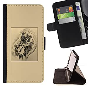 Skull Death Time Rock Metal Black Art - Painting Art Smile Face Style Design PU Leather Flip Stand Case Cover FOR Apple Iphone 5C @ The Smurfs