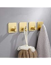 Lakingon Zelfklevende handdoekhouder, 4 stuks, goudkleurig, zonder boren, zelfklevende haken van roestvrij staal, roestvrij, waterdicht, super draagvermogen