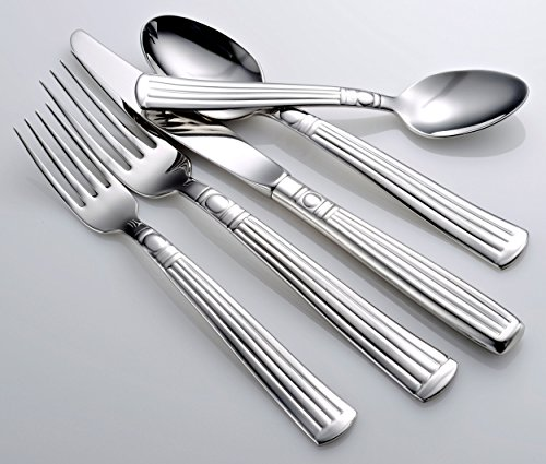 Liberty Tabletop Lincoln 45-piece 18/10 Flatware Set for 8, Includes Serving Pieces Made in USA (Butter Serving Knife Hollow Handle)