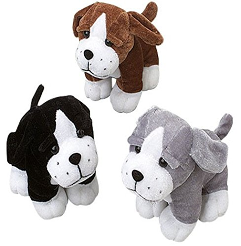 Sitting Puppy Dog Stuffed Animals Plush (1 Dozen), Assorted Color by happy deals