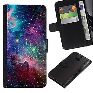 Paccase / Billetera de Cuero Caso del tirón Titular de la tarjeta Carcasa Funda para - sky universe stars cosmos nebula teal - HTC One M8