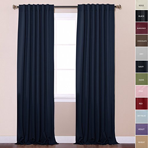 ChadMade Back Tab/Rod Pocket Navy 52Wx96L Inch (Set of 2 Panels) Solid Thermal Insulated Blackout Curtain Drape