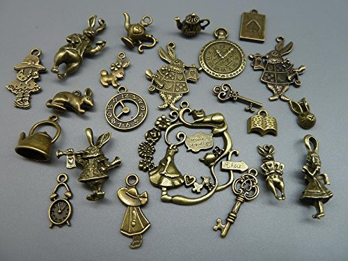 40pcs Antique Bronze Alice in Wonderland Fairy Tales Tea Party Steampunk Victorian Necklace Bracelet Charms (antique (Steampunk Party)