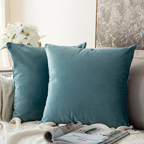 MIULEE Pack of 2, Velvet Soft Soild Decorative Square Throw Pillow Covers Set Cushion Cases Pillowcases for Sofa Bedroom Car 18 x 18 Inch 45 x 45 cm