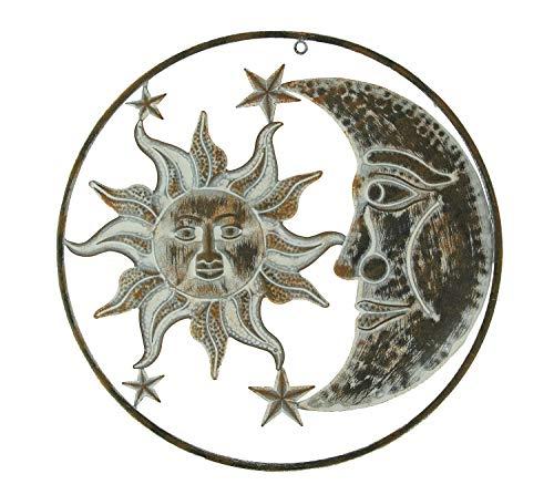 Direct International Distressed Metal Art Celestial Sun and Moon Indoor Outdoor Wall Sculpture