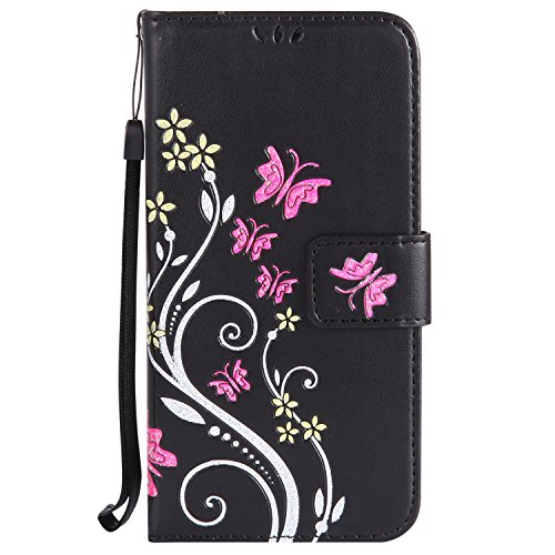 Urberry Galaxy S8 Butterfly Wallet Case, S8 Card Holder Case,Shock-proof Case for Samsung Galaxy S8 with a Screen Protector (Black)