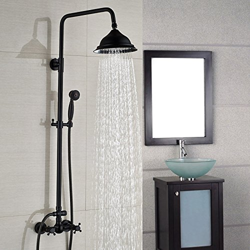 Black Exposed Shower System with 8 Inches Rain Shower Head and Handheld Spray