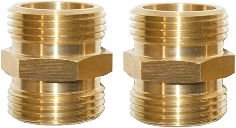 "Garden Hose Connectors Garden Hose Adapters Double Male 3/4"" GHT Brass Garden Hose Hex Male Fitting 2Pcs"