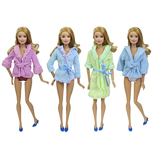 2 Sets of Barbie doll clothes with Underwear Nightwear Bathrobes,Shoes & Panties or Towel Random Style Outfit Fits Barbie Doll - by ZITA - Panties Cotton Barbie