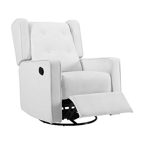 Awesome Naomi Home Odelia Swivel Rocker Recliner Microfiber Bright White Ibusinesslaw Wood Chair Design Ideas Ibusinesslaworg