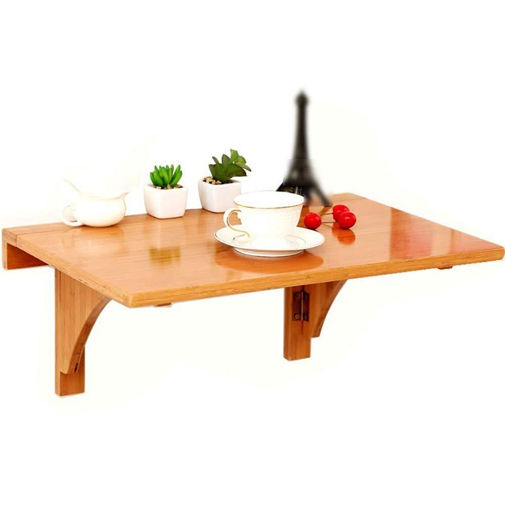 Mesa plegable de pared WNX abatible, Almacenamiento de múltiples Funciones de bambú Natural Montaje en Pared Pequeña Mesa de Comedor Cocina de Escritorio (Tamaño : 80times;55cm)