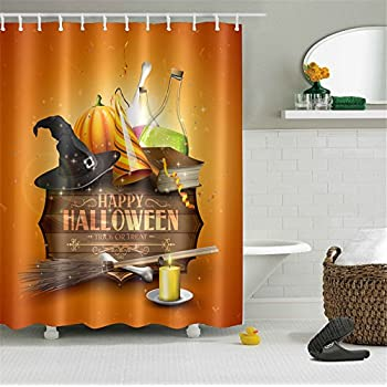 halloween bathroom decor. LB Polyester Bath Curtain Shower 60 x72 Nice Bathroom Decor Orange  Happy Amazon com Halloween Witch Sitting on Pumpkin