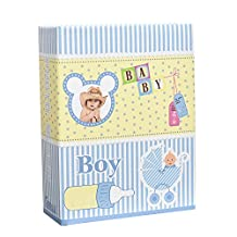 Arpan 6x4'' Small Slip In Case Photo Album for 100 Photos Various Design & Colurs (Blue Baby Boy)