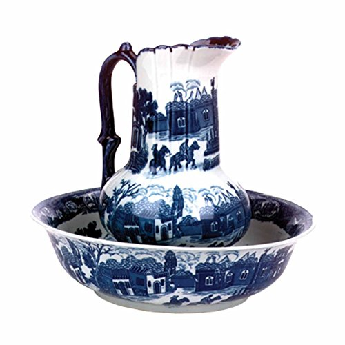 Renovator's Supply  Delft Blue Ceramic Washbasin And Pitcher Set (Pitcher And Bowl Set)