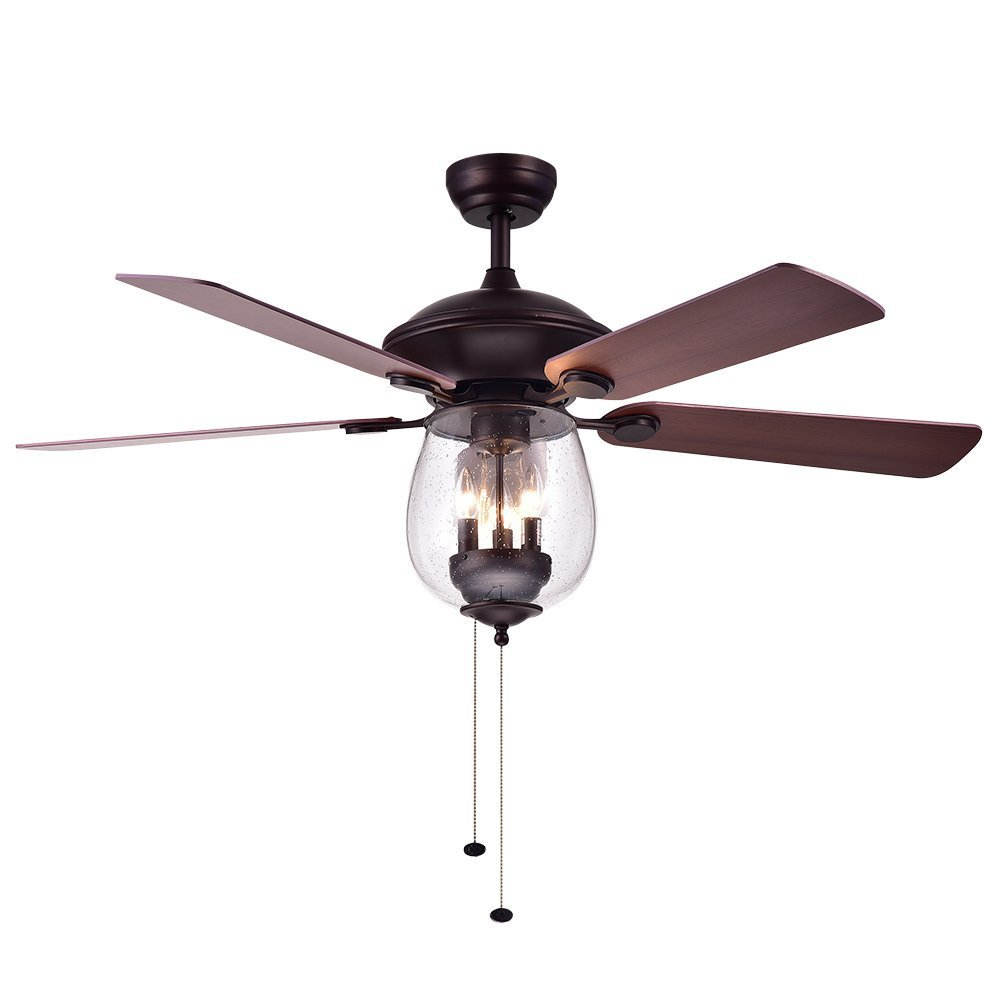 52-Inch Fan Chandelier, Bronze Bowl-Shaped Glass Lampshade Retro Ceiling Lamp, 5-Leaf Control Fan Chandelier for Bedroom Living Room Dining Room