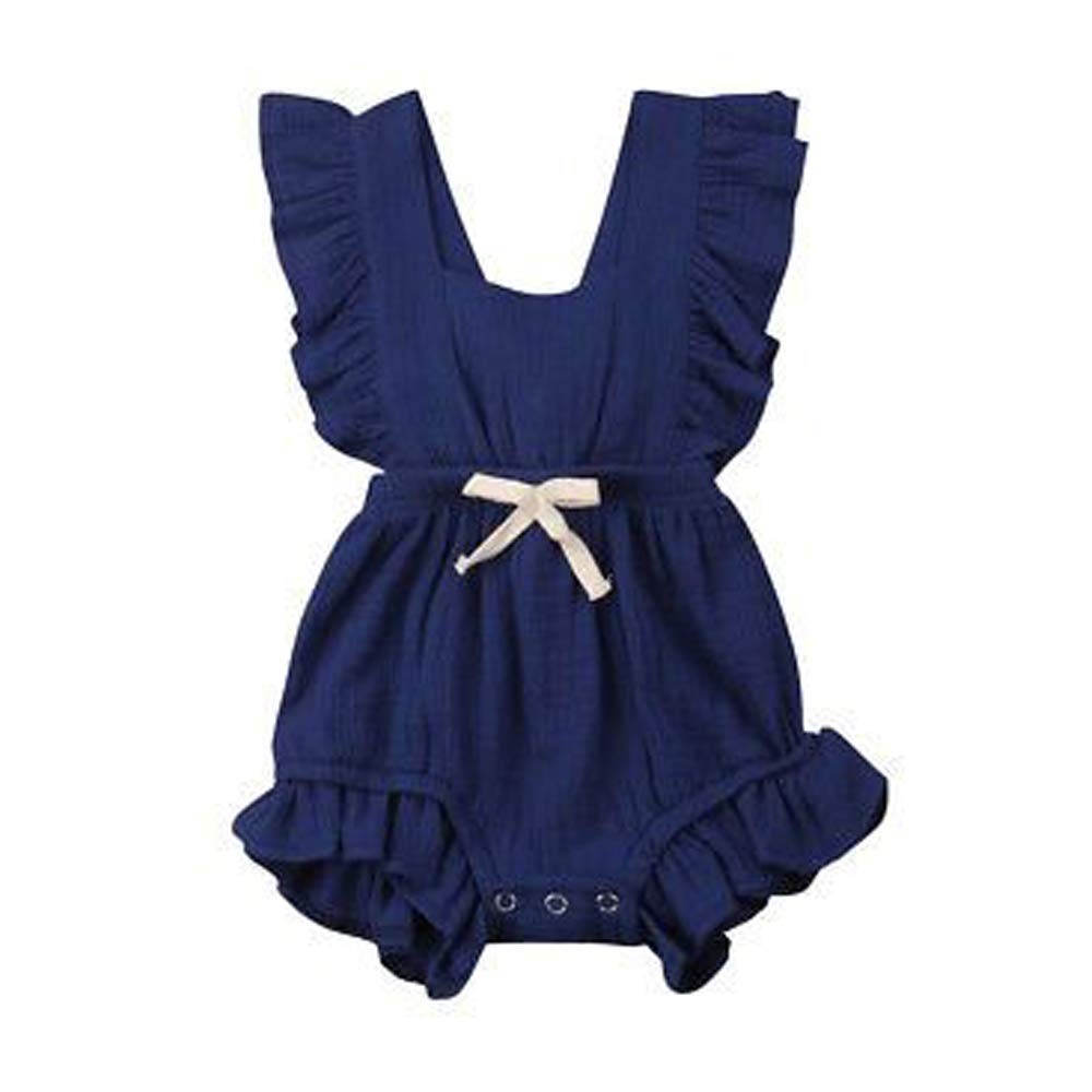 l'aise vie Toddler Baby Girl Romper Ruffled Sleeveless One-Piece Jumpsuit Bodysuit Outfits Clothes (18-24 M, Blue)