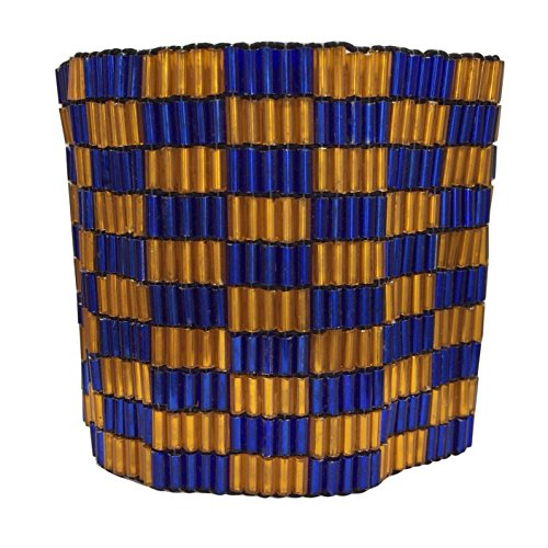 Wide Stretch Beaded Bracelet (Wide Checkerboard Multi Row Beaded Statement Stretch Bracelet (Orange & Blue))