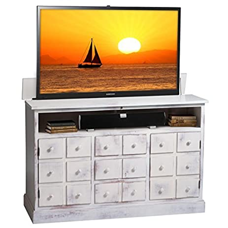 TVLiftCabinet Nantucket Antique TV Cabinet, White