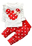 Baby Girls' Toddler Kids Clothes Shirt Top Leggings Pants Outfits(80,Red)