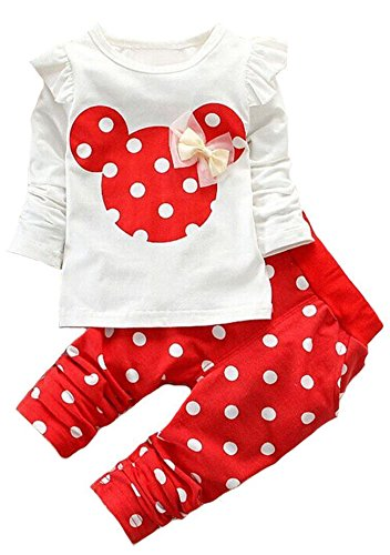 Baby Girls' Toddler Kids Clothes Shirt Top Leggings Pants Outfits(110,Red)]()