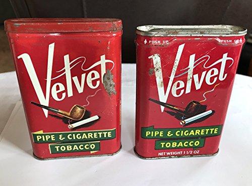 Velvet Pipe Tobacco - Liggett & Myers Two Vintage Velvet Pipe & Cigarette Tobacco Tins, Pinkerton