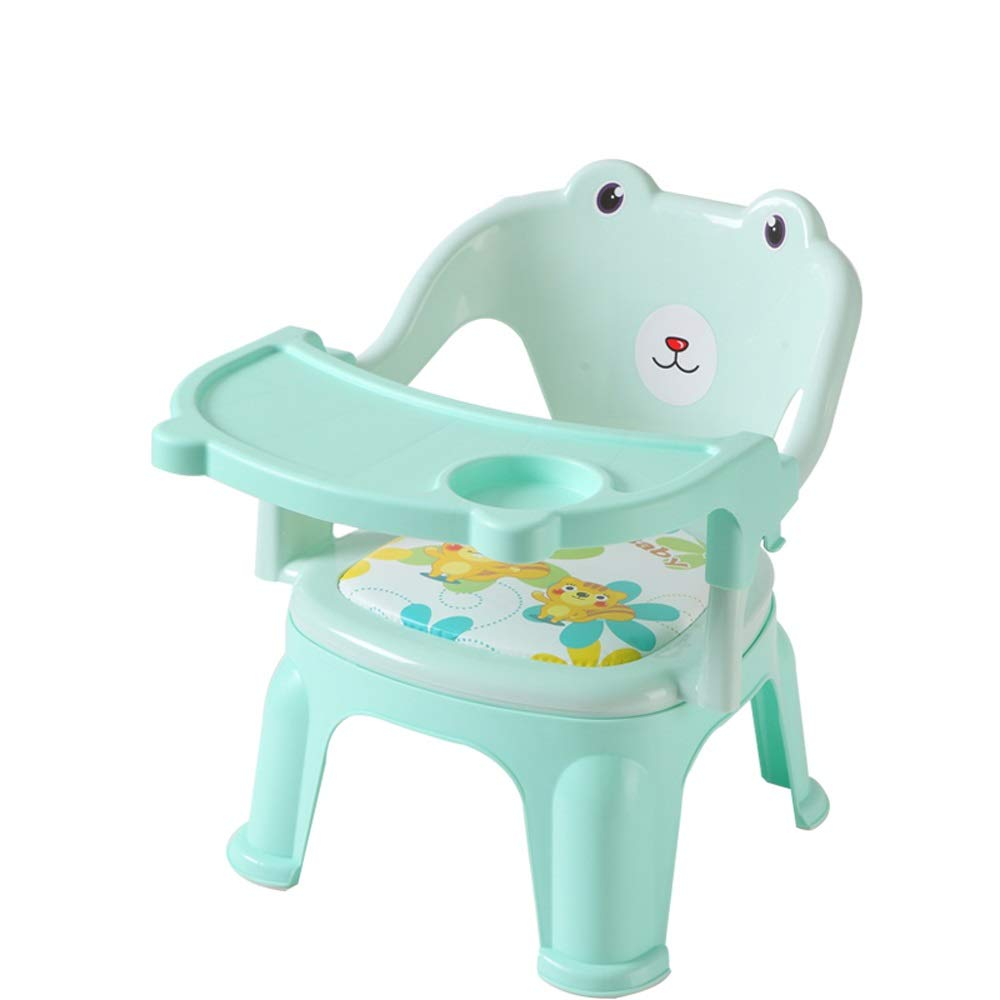 Swttppy Kids High Chair Portable Folding Dining Seat Baby Eating Chair Child Chair Seat Plastic Chair Feeding Chair Dining Table Cartoon Small Chair Bench (Color : Green) by Swttppy