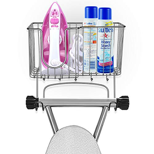 (SPACEREST Detachable Metal Wall Mounted Ironing Board Holder with Large Storage Basket & 5 Hanging Hooks for Laundry Rooms-Iron, Board, Spray Bottles Rack- Chrome)