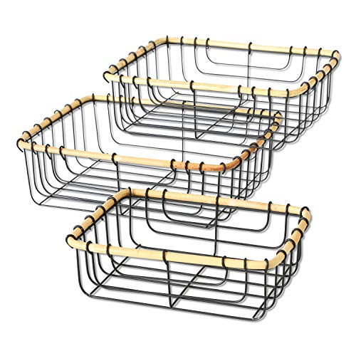 - WHW Whole House Worlds Everyday Essentials Rustic Wire Baskets, Set of 3, Natural Bent Bamboo Rim Trim, Black Iron, 12 11 and 9 3/4 Inches, Decorative Nesting Rectangles.