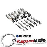 Biltek NEW 13pc Hollow Metal Leather Punch Set Punches Professional Wood Plastic Gasket + KapscoMoto Keychain