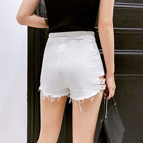 Xinwcanga Femme lgant Simple Hollow Taille Haute Irrgulire Ripped Denim Hot Shorts Blanc