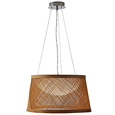 "Amazon Brand – Stone & Beam Modern Coastal Raffia Ceiling Hanging Pendant Chandelier Fixture With Built-In LED Light… - This chandelier will bring a breezy, coastal feel to your home. Its substantial size makes it ideal for a living space, hallway, entryway or dining table. 20.3"" Diameter x 11""H Shade is metal wrapped in natural material - kitchen-dining-room-decor, kitchen-dining-room, chandeliers-lighting - 51WdY1jaR L. SS400  -"