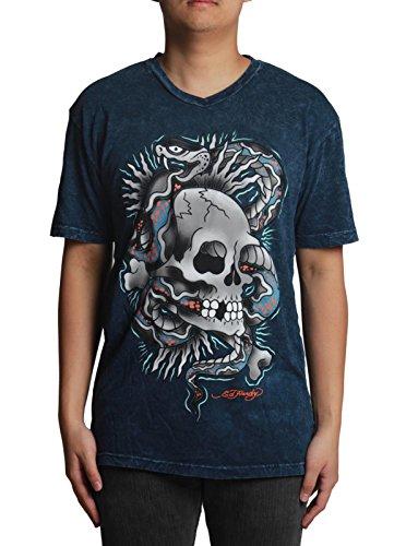 Ed Hardy Skull Snake V-neck Wrinkle Blue T-shirt