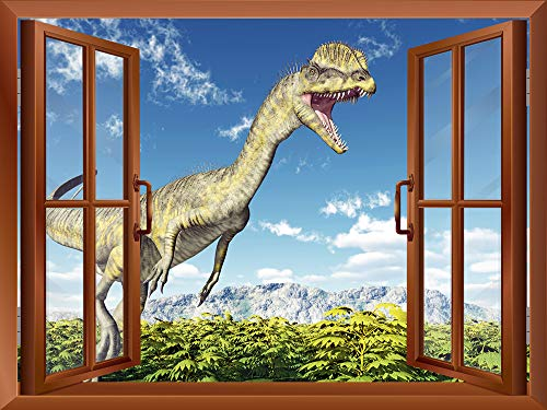 A Dinosaur outside of an Open Window Removable Wall Sticker Wall Mural