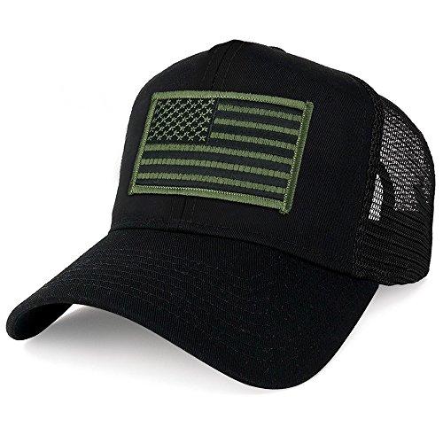 (Armycrew XXL Oversize Black Olive USA Flag Patch Mesh Back Trucker Baseball Cap -)