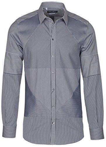 Dolce & Gabbana Men's 'Gold' Gray Geometric Pattern Button Down Dress Shirt, Gray, 15 ()
