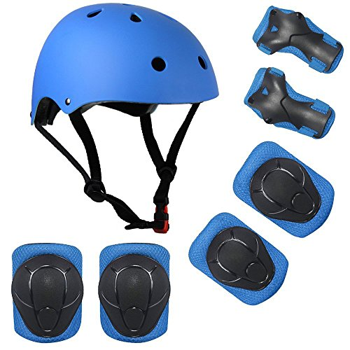 Lucky-M Kids Outdoor Sports Protective Gear,Boys and Girls Safety Pads Set [Helmet,Knee&Elbow Pads and Wrist Guards] for Roller, Scooter, Skateboard, Bicycle(4-8 Years Old)(Blue)