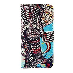 SHOUJIKE Elephant Pattern TPU Back Cover PU Full Body Case with Stand and Card Slots for iPhone 6