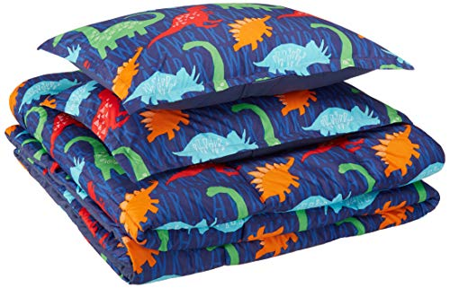 AmazonBasics Kid's Comforter Set – Soft, Easy-Wash Microfiber – Full/Queen, Multi-Color Dinosaurs