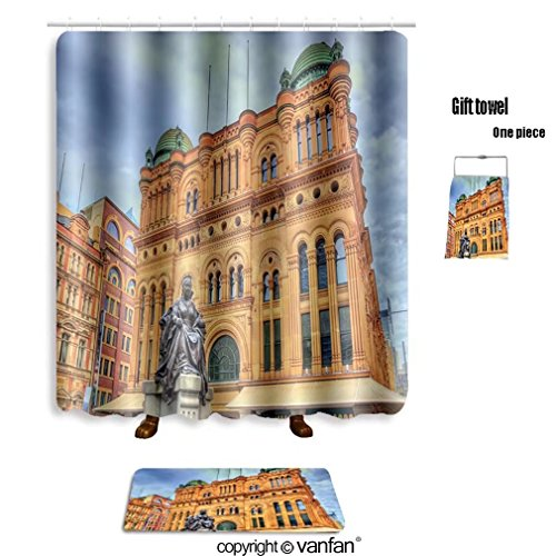 vanfan bath sets with Polyester rugs and shower curtain queen victoria building in sydney built in au shower curtains sets bathroom 72 x 92 inches&31.5 x 19.7 inches(Free 1 towel - Night Sydney Fashion Out