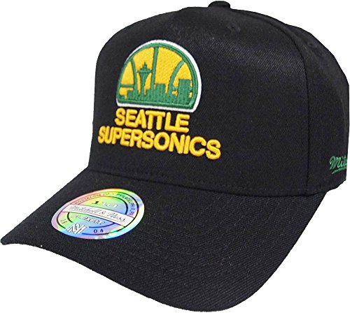 wholesale dealer d9b05 fbe48 Mitchell   Ness Seattle Supersonics INTL132 110 Curved Eazy NBA Flexfit  Snapback Cap One Size