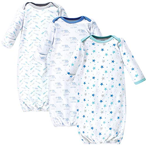 Luvable Friends Unisex Baby Cotton Gowns, Boy Elephant/Stars 3-Pack, 0-6 Months