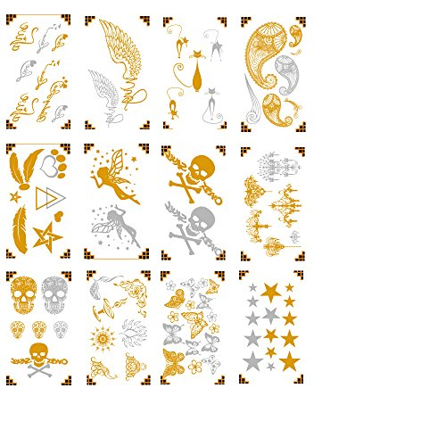 Premium Metallic Fresh Tattoos - 75+ Designs in Gold and Silver - Temporary Fresh Tattoo - Feathers, Stars, Skulls, Angels and Buterflys …(10 Pattern options)