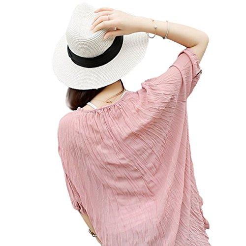 6eb718d6cb1f9 Lanzom Women Wide Brim Straw Panama Roll up Hat Fedora Beach Sun Hat UPF50+  (Khaki