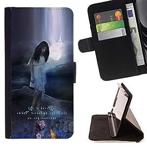 """For Samsung Galaxy J3(2016) J320F J320P J320M J320Y,S-type Hermosa Texto motivación Naturaleza"""" - Dibujo PU billetera de cuero Funda Case Caso de la piel de la bolsa protectora"""