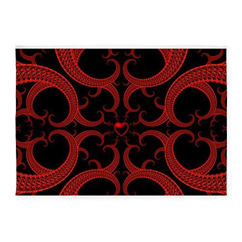 Black Fractal Pattern - CafePress - Red And Black Goth Fractal Art Heart Pattern 5'X7 - Decorative Area Rug, 5'x7' Throw Rug